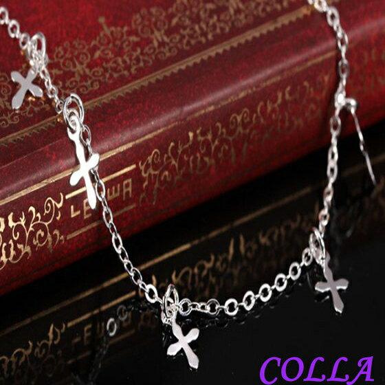 ✻蔻拉時尚✻ [N001-7] 925銀飾 韓國時尚可愛版十字架純銀腳鍊