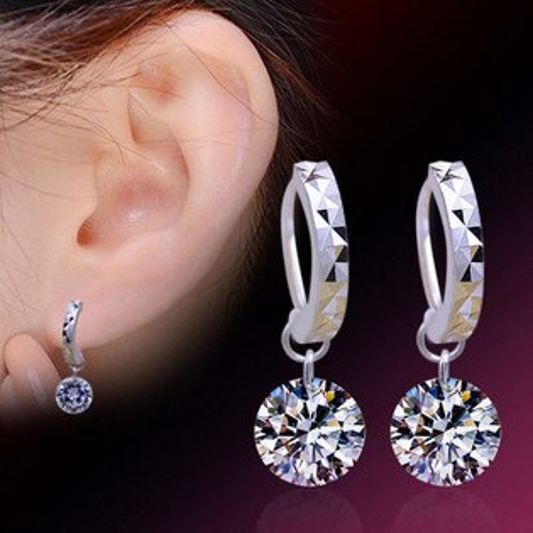 ✻蔻拉時尚✻ [Q02] 925純銀 奧地利高級天然鋯石裸鑽設計耳墜耳環 抗過敏