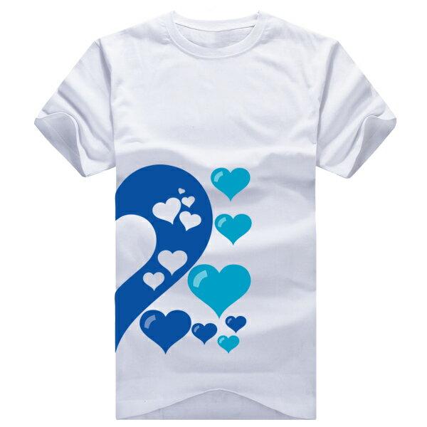 ◆快速出貨◆獨家配對情侶裝.客製化.T恤.最佳情侶裝.獨家款.純棉短T.MIT台灣製.藍色簍空愛心【Y0021】可單買.艾咪E舖 2