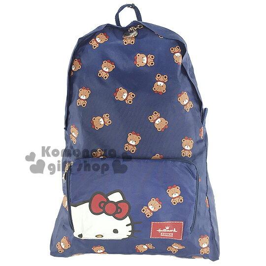〔小禮堂〕Hello Kitty x Hallmark 可折疊後背包~藍.小熊滿版~可掛於