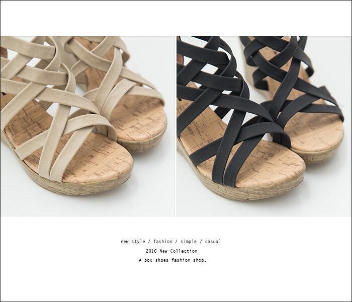 ★399免運★格子舖*【KD860】MIT台灣製 韓版交叉繞帶皮革前2後8CM厚底楔型仿木紋拉鍊羅馬涼鞋 2色 2