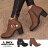格子舖*【KD5103】MIT台灣製 摩登流行款 高質感素面皮革 金屬拉環內拉鍊 粗高跟短靴 3色 0