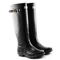 下雨天推薦雨靴/雨傘/雨衣推薦LINAGI里奈子精品【E9259-169】歐美經典鱷魚紋高筒顯瘦防水防滑雨靴/雨鞋