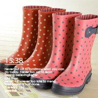 下雨天推薦雨靴/雨傘/雨衣推薦LINAGI里奈子精品 【H064-5976】新春甜美糖果色點點蝴蝶結短筒低跟防水雨鞋雨靴