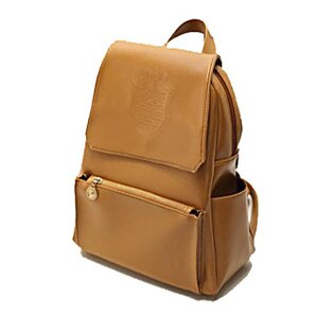 LINAGI里奈子精品【FLO489-83-32】簡單素面前拉鍊袋雙側邊袋磁釦設計內拉鍊袋手提/單肩/雙肩後背包-棕