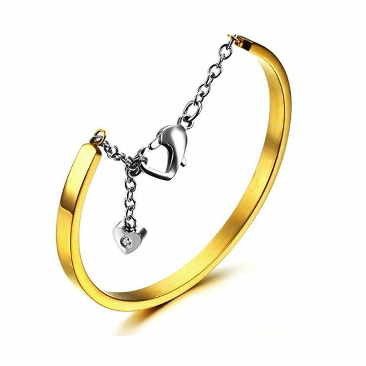 款 精美簡約純色 女款鈦鋼手環 ~  好康折扣