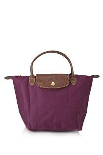 [短柄S號]國外Outlet代購正品 法國巴黎 Longchamp [1621-S號] 短柄 購物袋防水尼龍手提肩背水餃包 覆盆紫