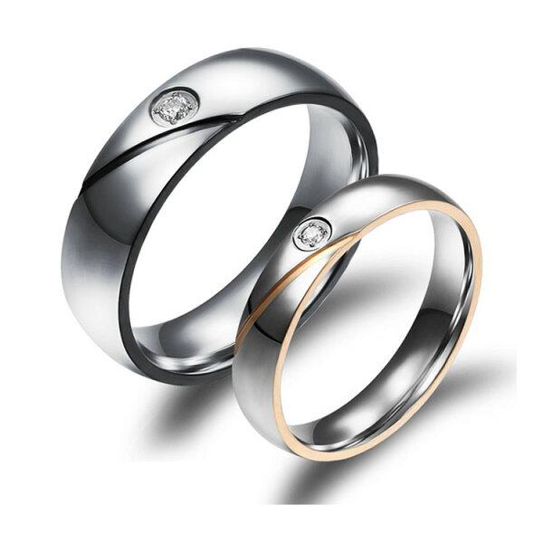 最新款時尚精美深情簡約水晶鑽造型情侶款鈦鋼戒指