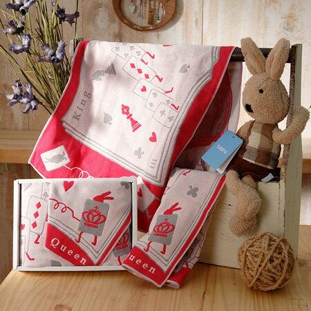 【taoru】愛麗絲的國度|紙牌僕人 - 日本有機棉彌月禮盒 28x28 cm、28x60 cm - 一起夢遊仙境吧!