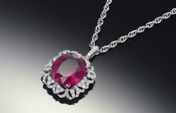 11.48克拉紅碧璽鑽石項鍊-附寶石及鑽石鑑定書