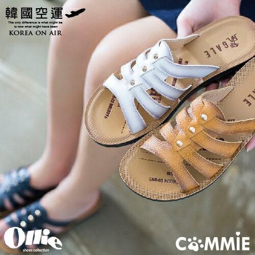 拖鞋-Ollie正韓率性小圓釘魚骨楔型拖鞋.寶貝窩 .【OE10012】(預購)