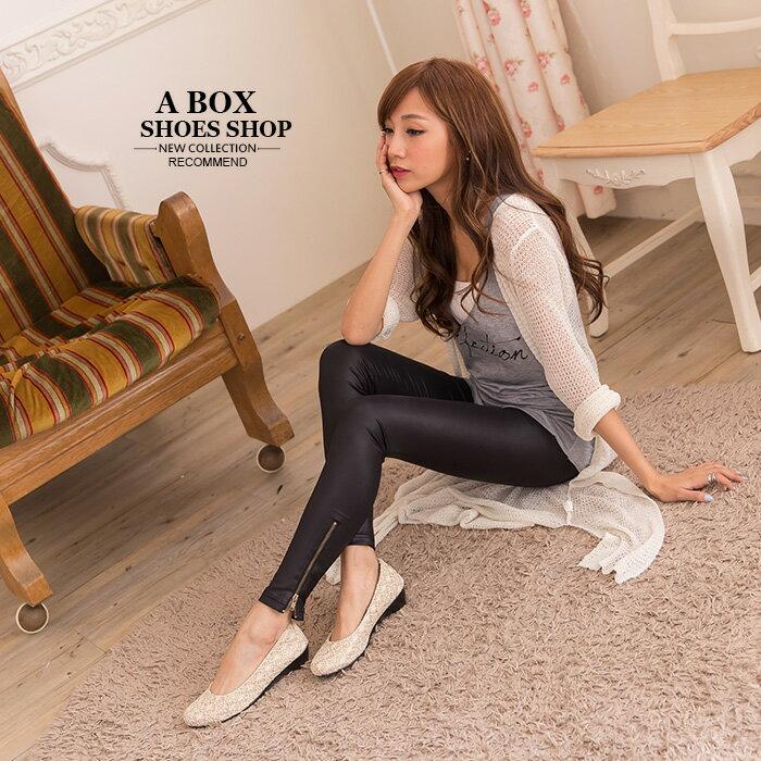 格子舖*【AD518】MIT台灣製 氣質名媛風 金蔥亮粉網狀蕾絲 舒適好走粗低跟鞋 2色 1