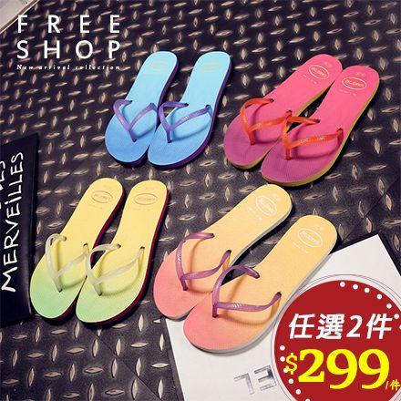 拖鞋 Free Shop【QFSMX9117】女款Summer Time夜光漸層造型沙灘鞋海灘鞋人字夾腳拖鞋 粉紅藍橘黃色