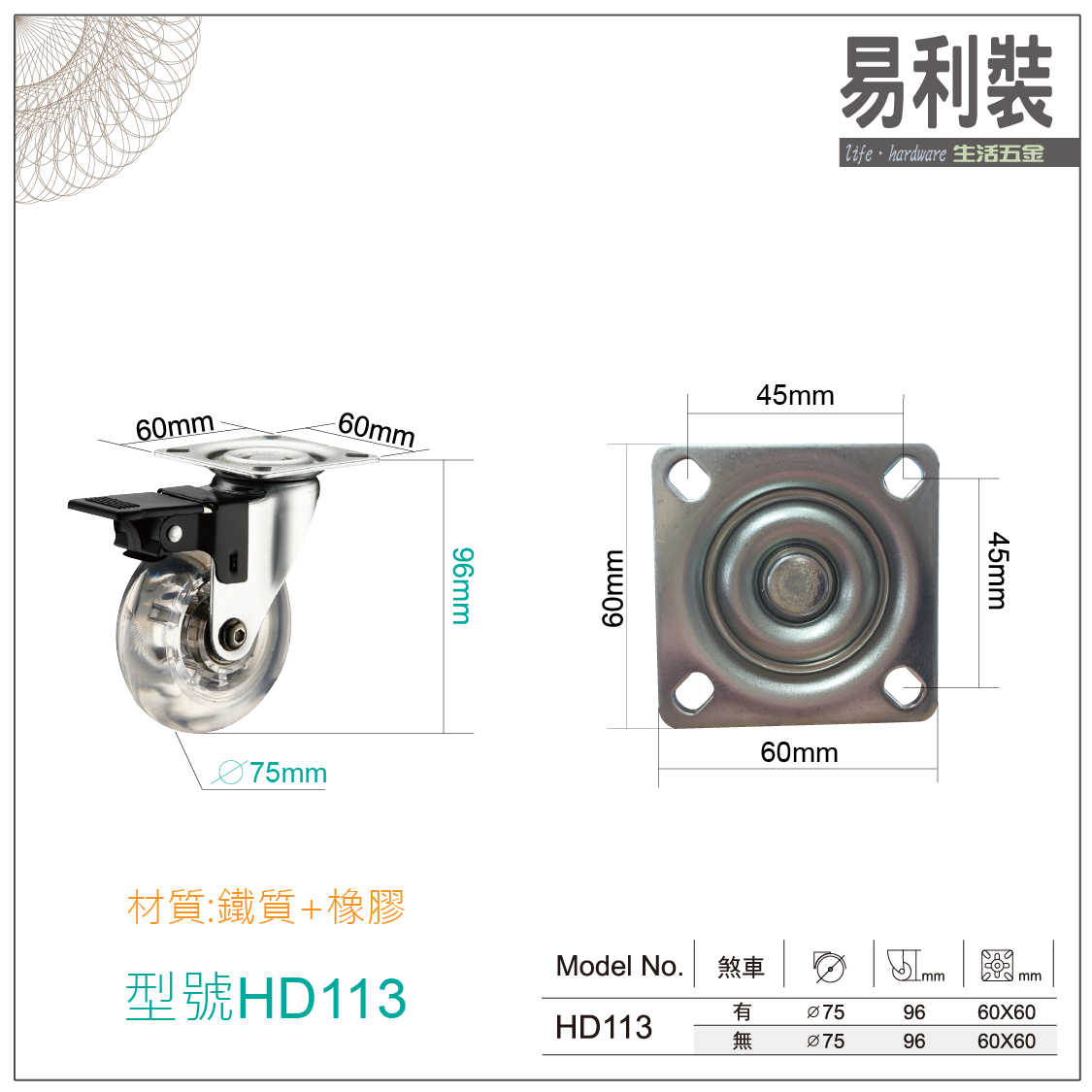 【 EASYCAN  】HD112-113 活動輪 易利裝生活五金 桌輪 櫃輪 房間 臥房 衣櫃 小資族 辦公家具 系統家具 3