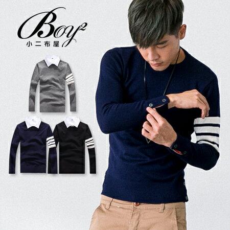 ☆BOY-2☆【PPK86035】英倫風單袖條紋鈕扣針織上衣 0
