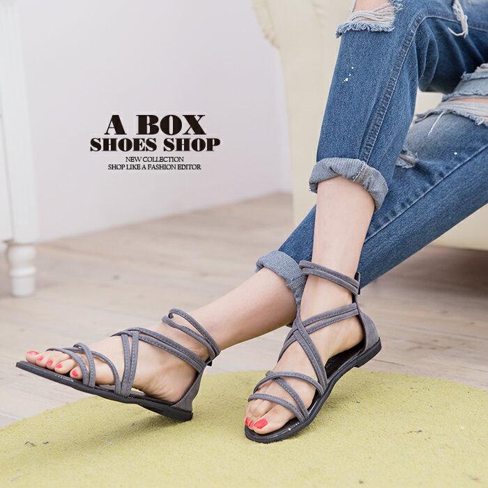 格子舖*【AS118】嚴選時尚性感羅馬風 高質感絨布材質 繞帶羅馬涼鞋 2色 1