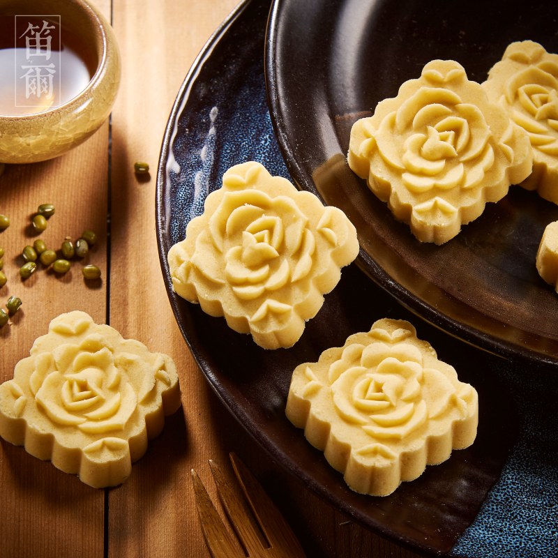 細緻如雪綠豆糕(15入)-笛爾手作現烤蛋糕  手工磨製綠豆仁,一泯綠豆清香滿溢嘴中! 2