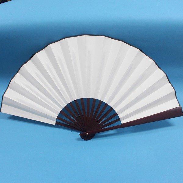 大紅棕竹骨空白宣紙扇 雙面空白扇子 宣紙扇子 長33cm(標準型)/一支入{定120}