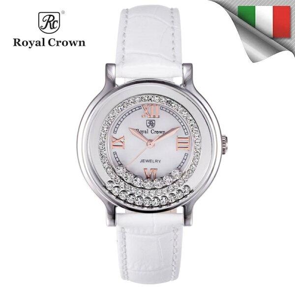 日本機芯 華貴時尚滾鑽石英女錶 真皮錶帶多色可選 3638P 免運費 義大利品牌精品手錶 蘿亞克朗 Royal Crown 極品風韻