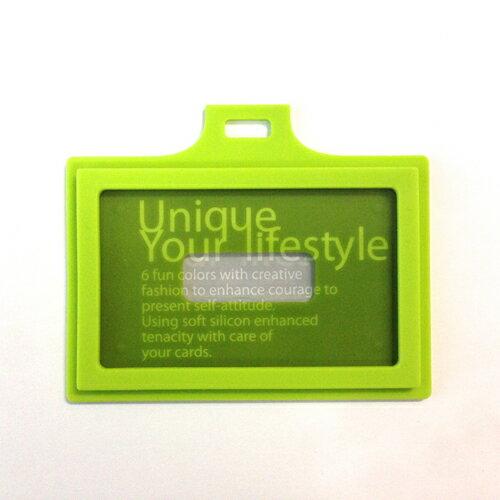 EVOUNI C22-3GN 繽-造型橫式證件套 蘋果綠