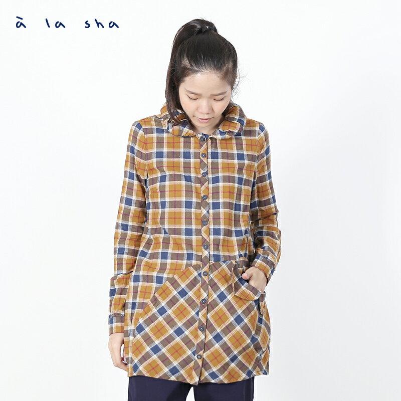 a la sha enco 格子造型領長版襯衫 1