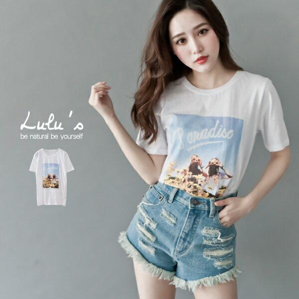 LULUS~F韓製~PARADISE圖像T恤~白 現 預~01015153~
