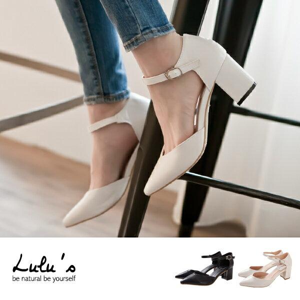 LULUS-U桃心尖頭細繫帶低跟鞋36-39-2色 現【06080103】