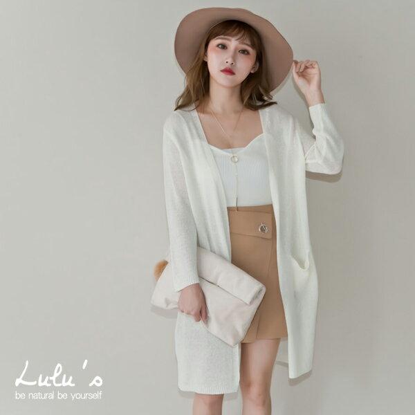 LULUS~E~針織雙口袋開襟罩衫~4色 現 預~03110332~