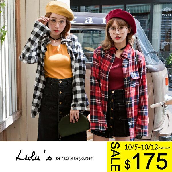 LULUS~G單口袋格紋襯衫~7色 現 預~01031594~