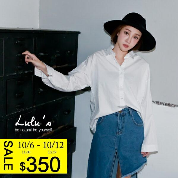 LULUS~D韓製~純素水洗襯衫~白 現 預~01031590~