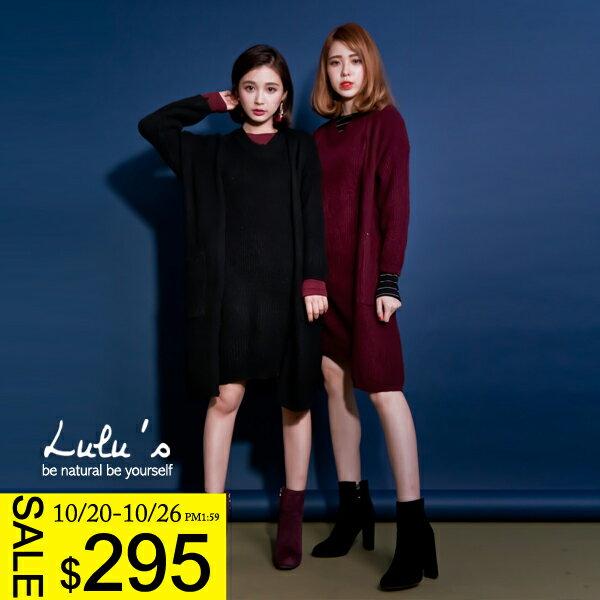 LULUS-K兩件式-針織無袖洋裝+開襟外套-3色  現+預【01120591】