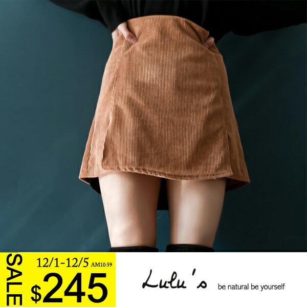 LULUS~F韓製~燈芯絨下擺小開叉短裙~2色 現 預~05010966~ ~  好康折扣