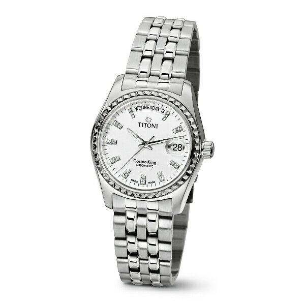 TITONI瑞士梅花錶787S-307宇宙Cosmo King系列機械腕錶/白面38.5mm