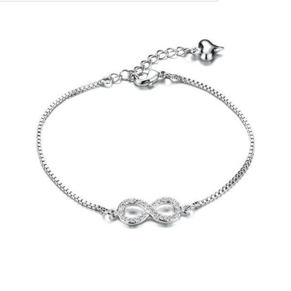 最新款時尚精美8字鑲鑽造型女款鍍白金手鍊