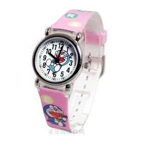 《省您錢購物網》全新~限量doraemon 多啦a夢小叮噹卡通 塑膠錶(粉色)座姿款