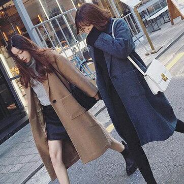 韓版西裝領寬鬆毛呢大衣