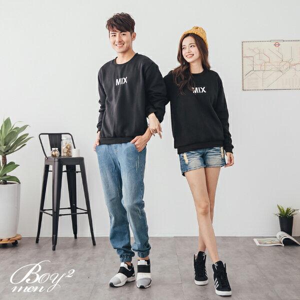 ☆BOY-2☆  【ND5871】情侶美式電繡MIX刷毛大學T恤 2