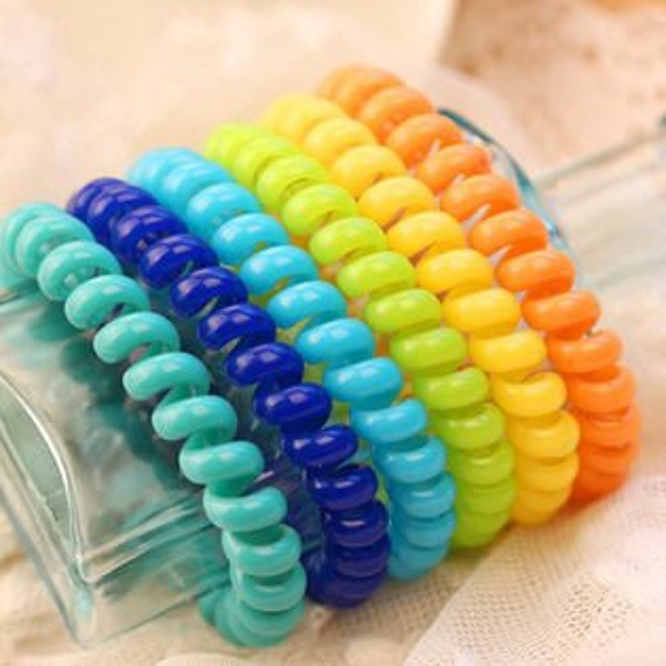 PS Mall韓版髮飾糖果色電話線髮圈 綁頭髮橡皮筋髮繩頭花頭飾 【G1899】