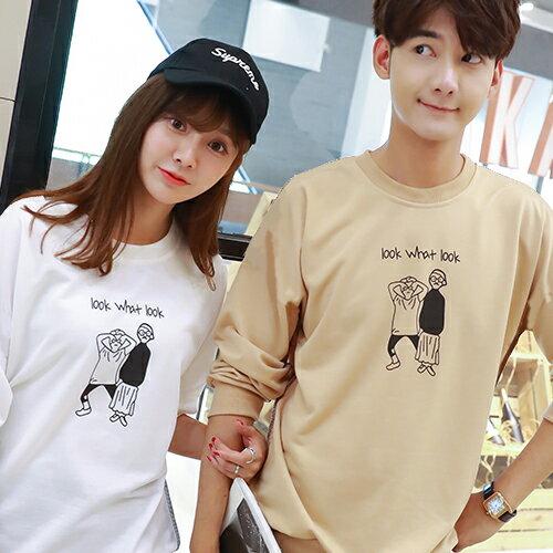 ◆快速出貨◆刷毛T恤 圓領刷毛 情侶T恤 暖暖刷毛 MIT台灣製.LOOK WHAT 兩個人【YCS357】艾咪E舖 4
