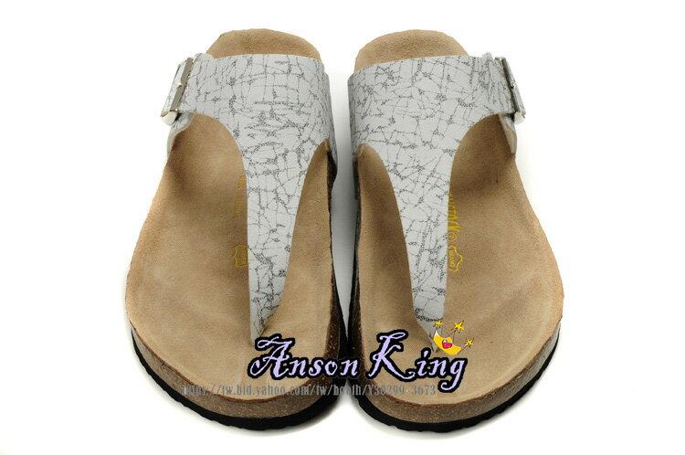 [Anson King]Outlet正品代購  birkenstock 男女款 丁字夾腳 海灘 懶人涼拖鞋 白色黑紋 0
