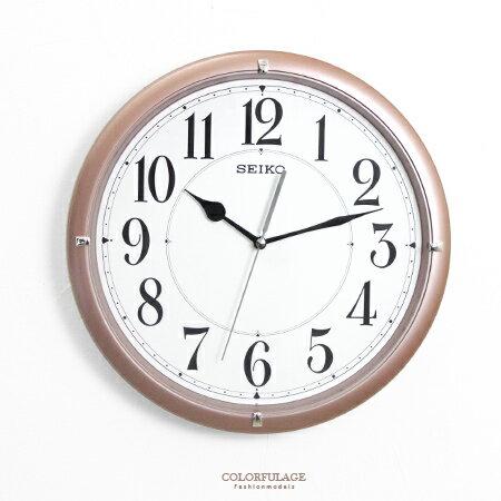 SEIKO精工掛鐘 簡約香檳咖時尚大數字設計時鐘 滑動式靜音秒針 柒彩年代【NG1717】原廠公司貨