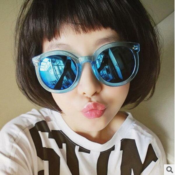 50%OFF【J013657Gls】韓版圓框炫彩放光太陽鏡新款箭頭透明彩膜墨鏡太陽眼鏡附眼鏡盒
