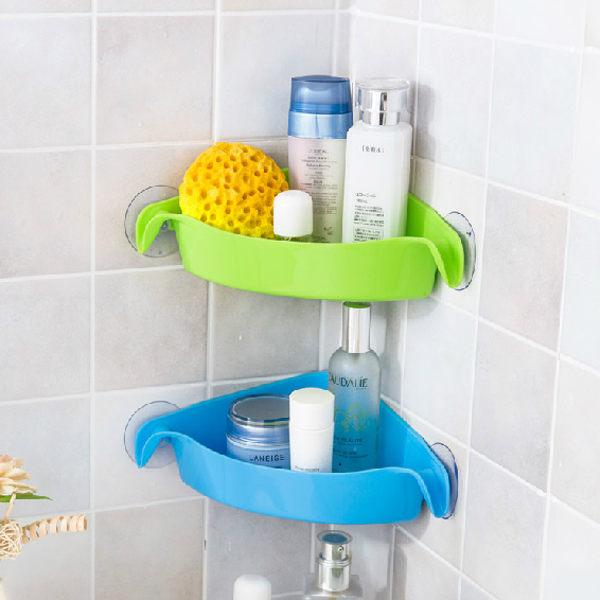 PS Mall 三角形吸盤置物架 多用途浴室廚房置物架 轉角多用收納 儲物架【J579】