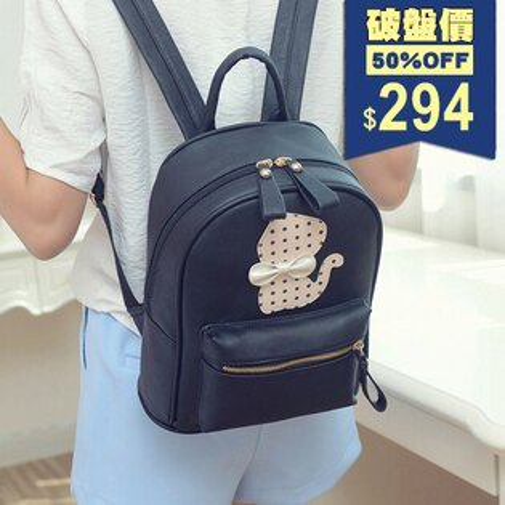 波點蝴蝶結紳士貓後背包 包飾衣院 P1711 現貨+預購