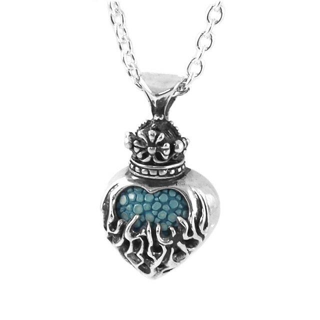 【海外訂購】【Leathers&Treasures】火焰之心皇冠純銀項鍊(迷你版) 50cm(JLTP062-Stingray2-Blue  0812610002) 0