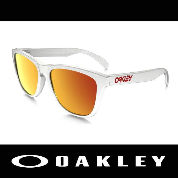 萬特戶外運動-美國 OAKLEY 太陽眼鏡 FROGSKIN系列  白色鏡框 休閒款 24-307