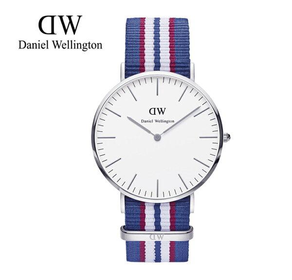 瑞典正品代購 Daniel Wellington 0213DW 銀 尼龍 帆布錶帶 手錶腕錶 40MM