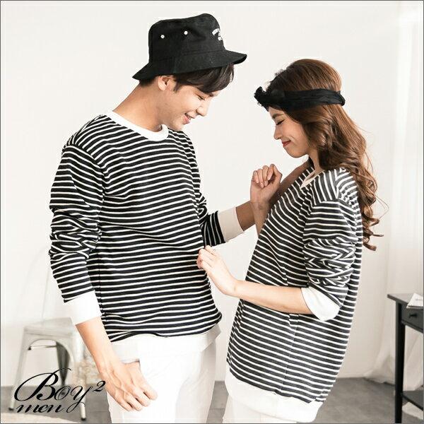 ☆BOY-2☆【NR73969】情侶裝長袖條紋刷毛T恤 3