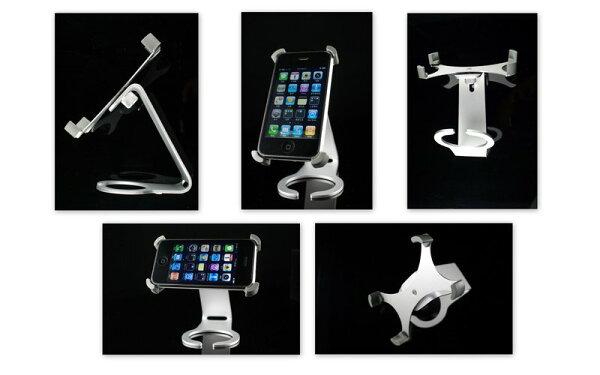 又敗家@ Dynamic8鋁合金手機座旋轉架C型手機座適Apple蘋果iPhone 4 4G 3GS 3G iPod Touch黑莓機HTC NOKIA似Just Mobile Xtand