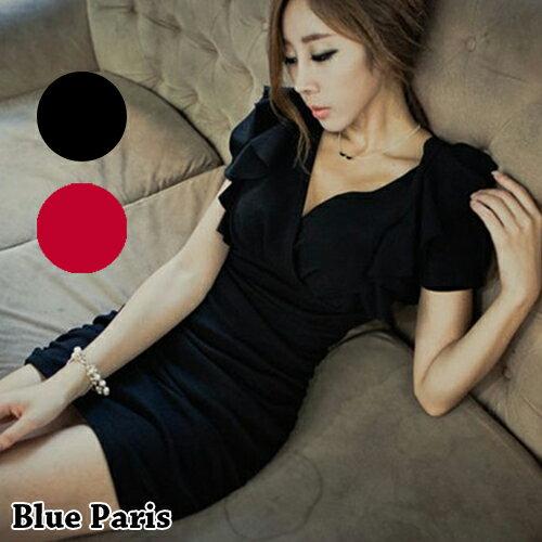 短洋裝 - V領荷葉短袖修身連身裙【29052】現貨《2色》藍色巴黎 0